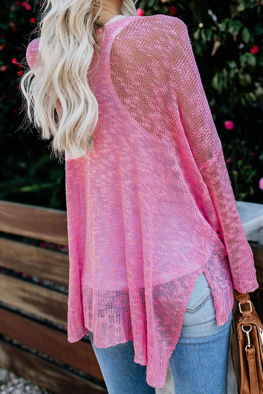 粉色宽松轻质V领排扣透视针织长袖开衫 LC271026
