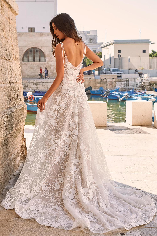 白色优雅精美3D花边图案派对典礼长裙 LC611887