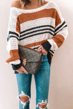 棕色宽松拼色条纹舒适毛衣