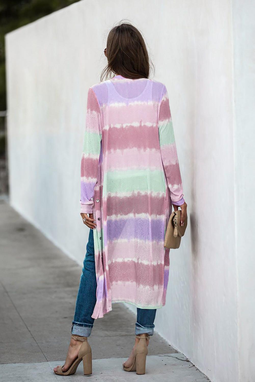 紫色时尚拼色长袖修身按钮开衫 LC254073