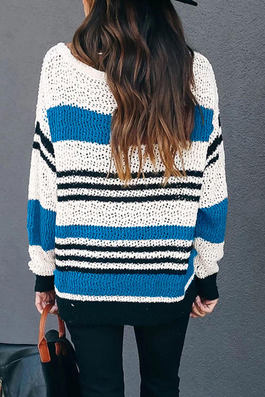 蓝色宽松拼色条纹舒适毛衣 LC2511067