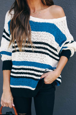 蓝色宽松拼色条纹舒适毛衣