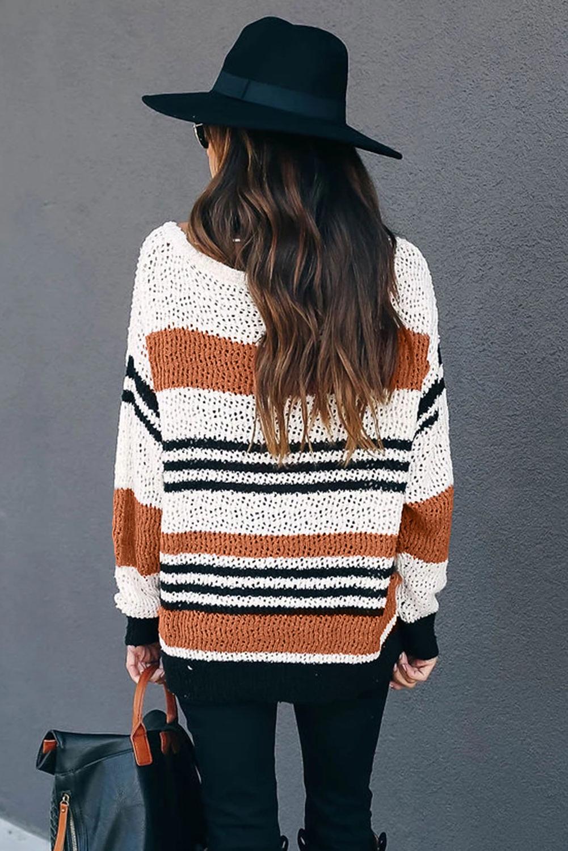 棕色宽松拼色条纹舒适毛衣 LC2511067