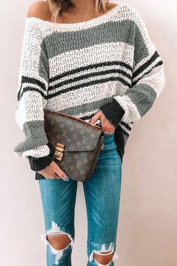 灰色宽松拼色条纹舒适毛衣