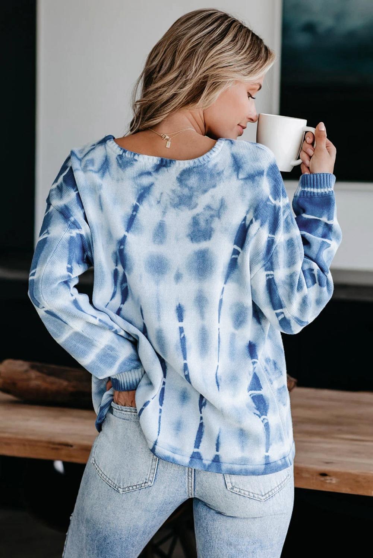 蓝色扎染舒适针织宽松毛衣 LC2511287