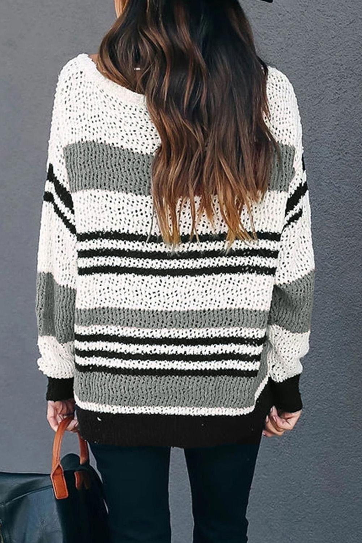 灰色宽松拼色条纹舒适毛衣 LC2511067