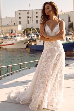白色优雅精美3D花边图案派对典礼长裙