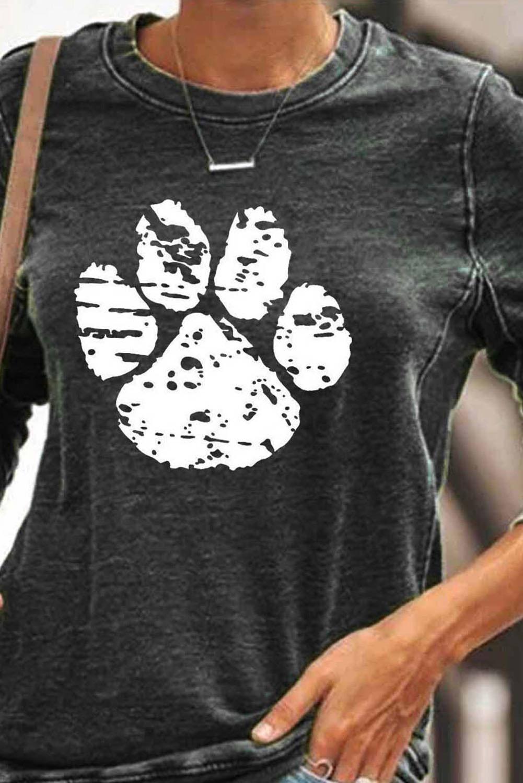 黑色动物爪印图案圆领长袖套头卫衣 LC2531831