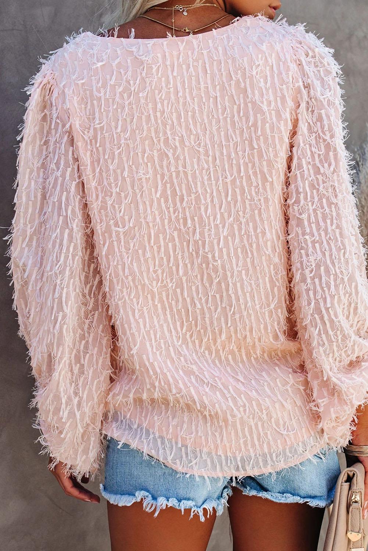 粉色可爱别致气球袖V领套头衫 LC2511690