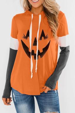 橙色万圣节南瓜印花拼色长袖套头连帽衫