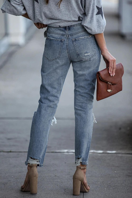 休闲高腰仿旧破洞修身牛仔裤 LC78023