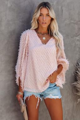 粉色可爱别致气球袖V领套头衫