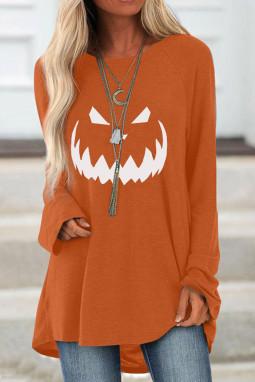 橙色万圣节印花宽松套头长袖上衣