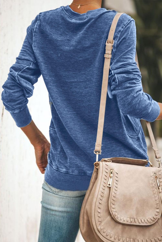 蓝色字母标语图案圆领长袖套头卫衣 LC2531560