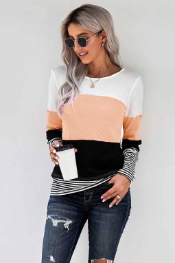 时尚拼色条纹宽松舒适杏色圆领长袖上衣