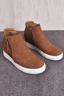 棕色拉链设计硫化工艺休闲鞋