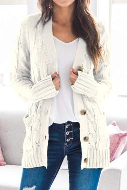 白色排扣口袋长袖宽松休闲针织开衫