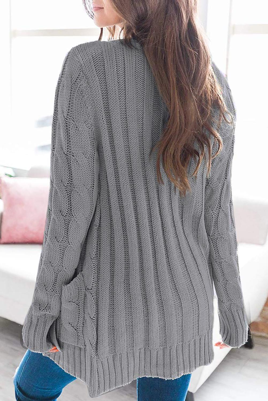 灰色排扣口袋长袖宽松休闲针织开衫 LC271033