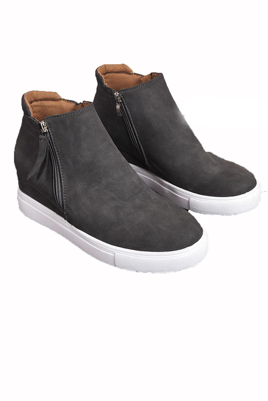 灰色拉链设计硫化工艺休闲鞋 LC12135