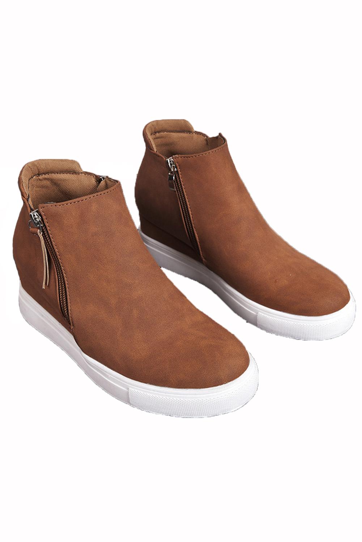 棕色拉链设计硫化工艺休闲鞋 LC12135