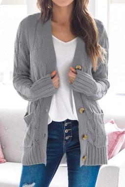 灰色排扣口袋长袖宽松休闲针织开衫