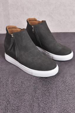灰色拉链设计硫化工艺休闲鞋
