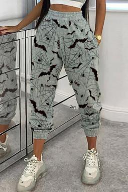 灰色万圣节蝙蝠印花休闲裤