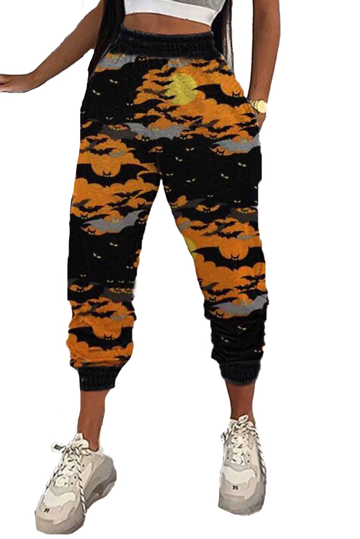橙色万圣节蝙蝠印花休闲裤 LC77637