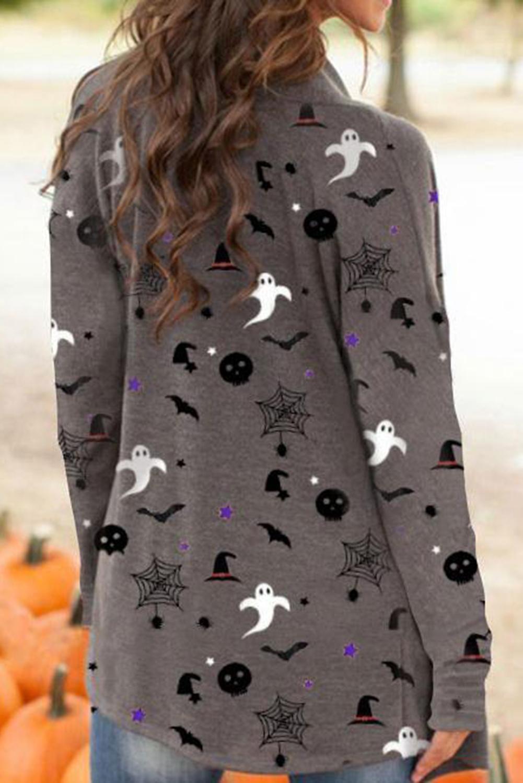万圣节主题元素印花灰色长袖开衫 LC254163