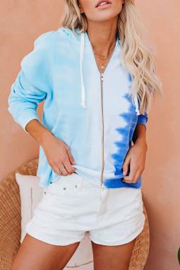 蓝色渐变拉链抽绳扎染宽松休闲连帽衫