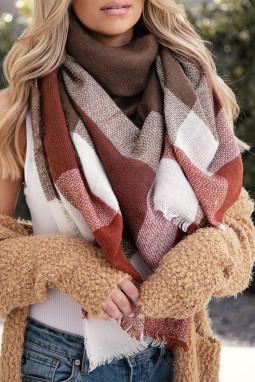 时尚格子针织毛毯围巾
