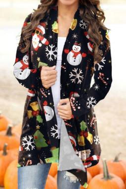 可爱卡通圣诞老人雪人宽松长袖女士开衫