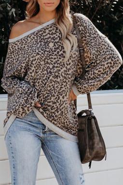 时尚豹纹灯笼袖针织宽松套头卫衣