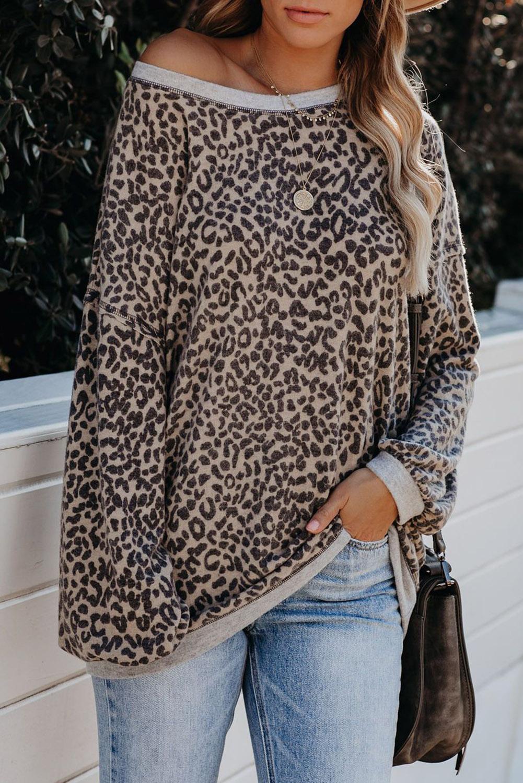时尚豹纹灯笼袖针织宽松套头卫衣 LC2531037