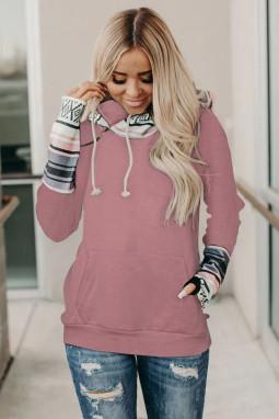 粉色时尚拼接拇指长袖拉链抽绳双层连帽衫