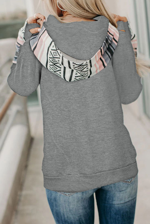 灰色时尚拼接拇指长袖拉链抽绳双层连帽衫 LC253915