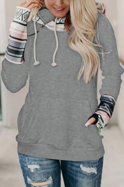 灰色时尚拼接拇指长袖拉链抽绳双层连帽衫