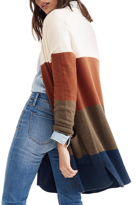 时尚拼色口袋长袖宽松开襟衫 LC271052
