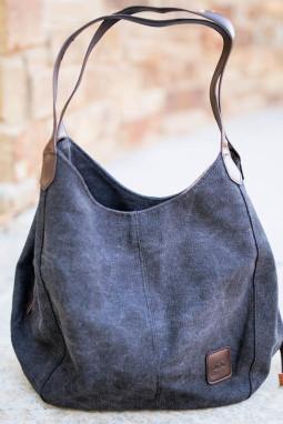 黑色复古单肩帆布手提包