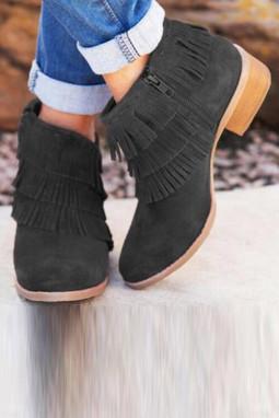 黑色拉链低跟时尚流苏靴子