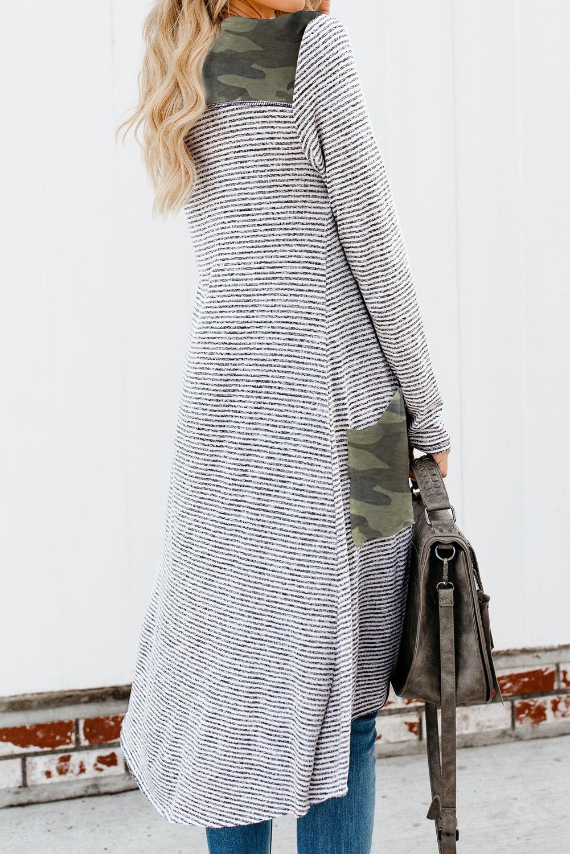 时尚迷彩拼接口袋排扣长款条纹开襟衫 LC254050