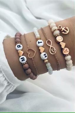 精致爱心形字母吊坠串珠手链5件套