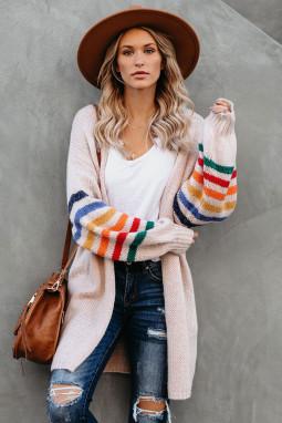 淡粉色可爱条纹长袖宽松舒适开衫