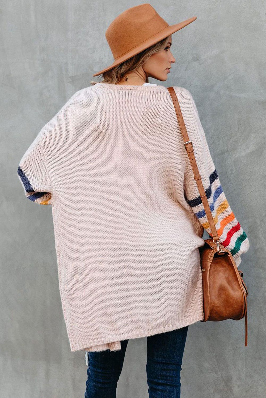 淡粉色可爱条纹长袖宽松舒适开衫 LC271037