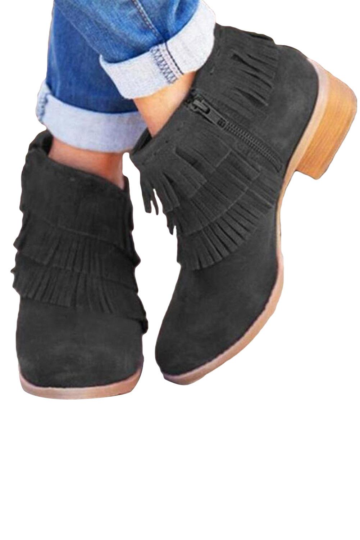 黑色拉链低跟时尚流苏靴子 LC12138