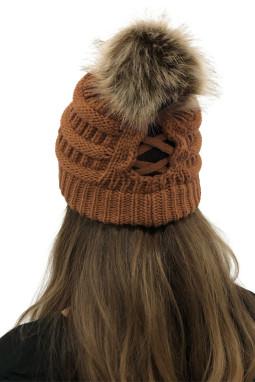 棕色户外绒球电缆针织无檐小便帽
