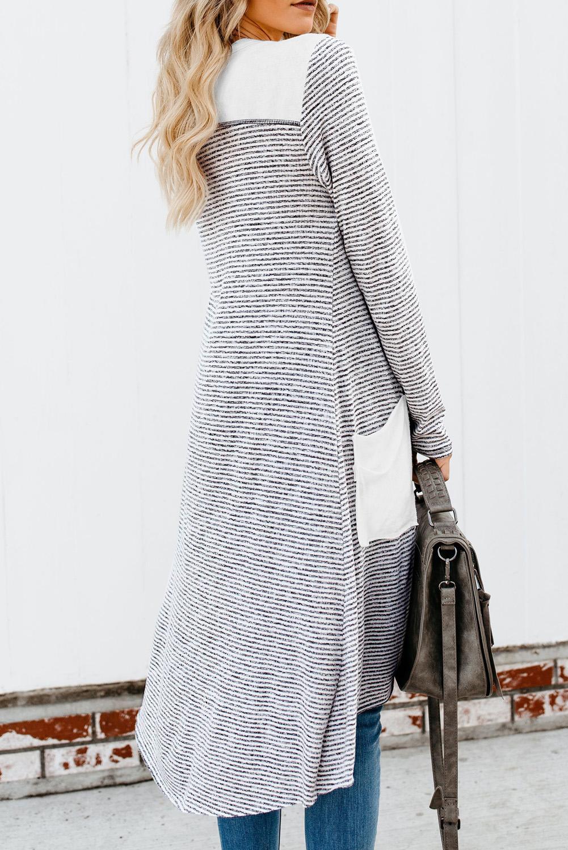 白色拼接口袋排扣长款条纹开襟衫 LC254050