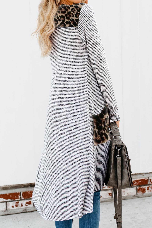 时尚豹纹拼接口袋排扣长款条纹开襟衫 LC254050