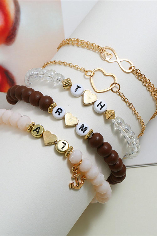 精致爱心形字母吊坠串珠手链5件套 LC01427