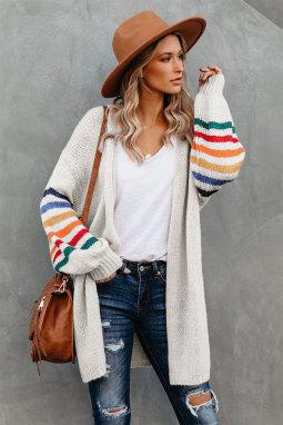 白色可爱条纹长袖宽松舒适开衫